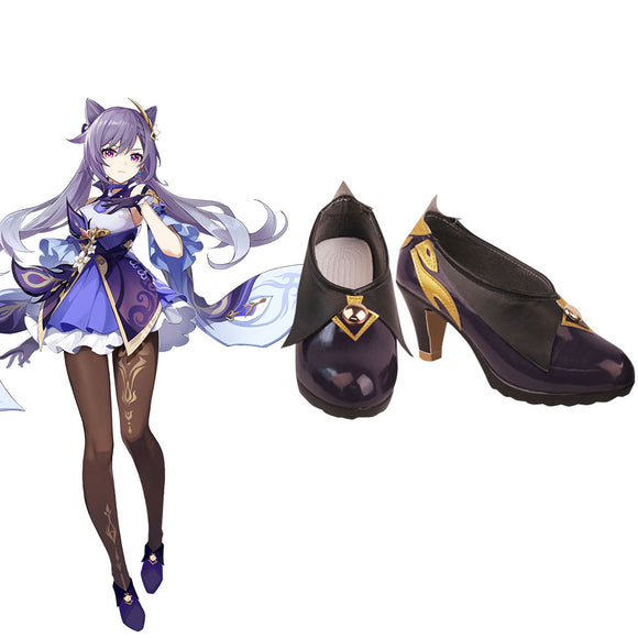 Genshin Impact Keqing Purple Cosplay Shoes