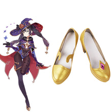 Load image into Gallery viewer, Genshin Impact Mona Golden Cosplay Shoes