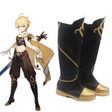Genshin Impact Player Male Traveler Black Shoes Cosplay Boots