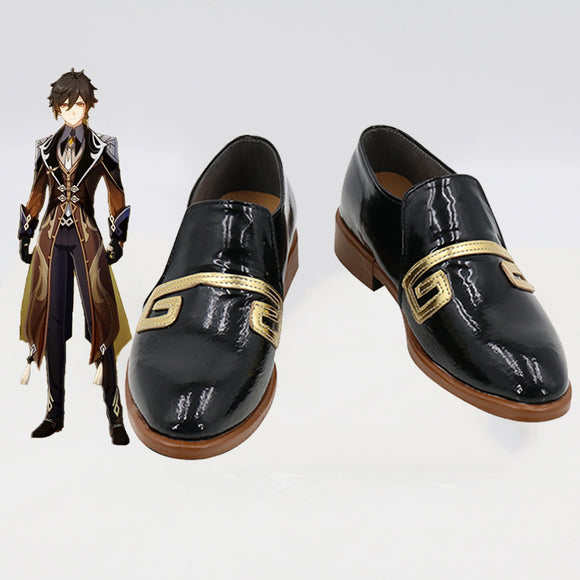 Genshin Impact Zhongli Black Cosplay Shoes