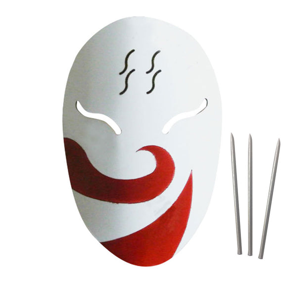 Haku from Naruto Halloween Mask and 3 Needles Cosplay Accessory Prop
