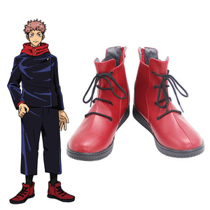 Jujutsu Kaisen Sorcery Fight Yuji Itadori Red Cosplay Shoes