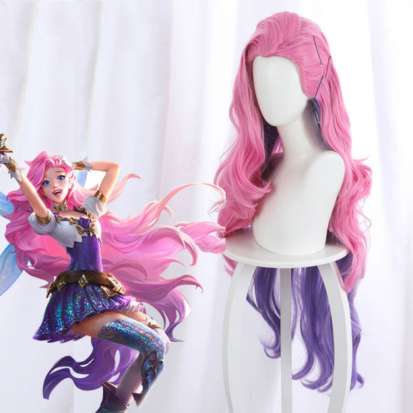League Of Legends LOL The Starry-Eyed Songstress Seraphine Pink Cosplay Wig