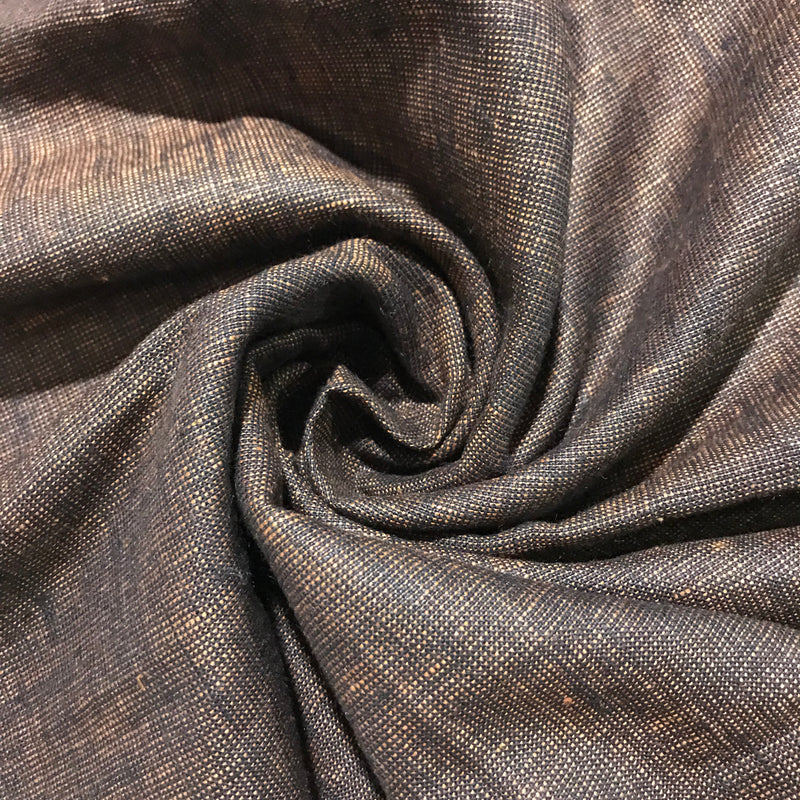 Black Brown 100% Pure Linen Unstitched Trousers Fabric for Men, Women, kids