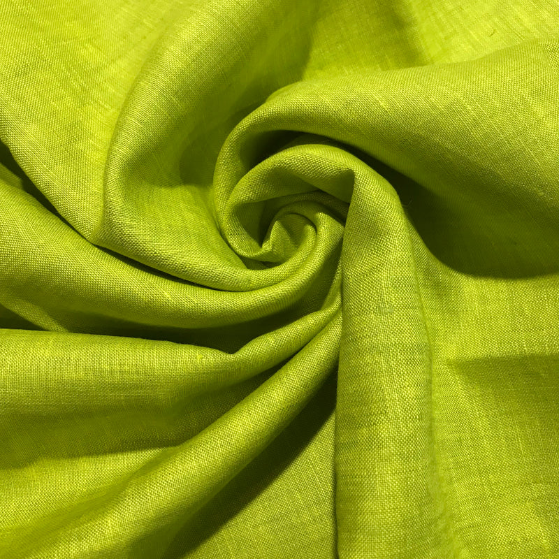 Yellow Green 100% Pure Linen Unstitched Shirt Fabric for Men, Women, kids