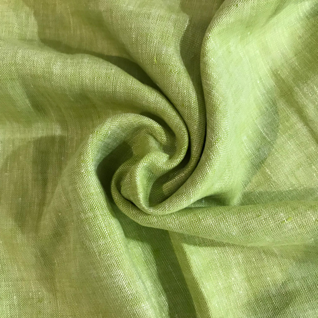 Green 100% Pure Linen Unstitched Shirt Fabric for Men, Women, kids