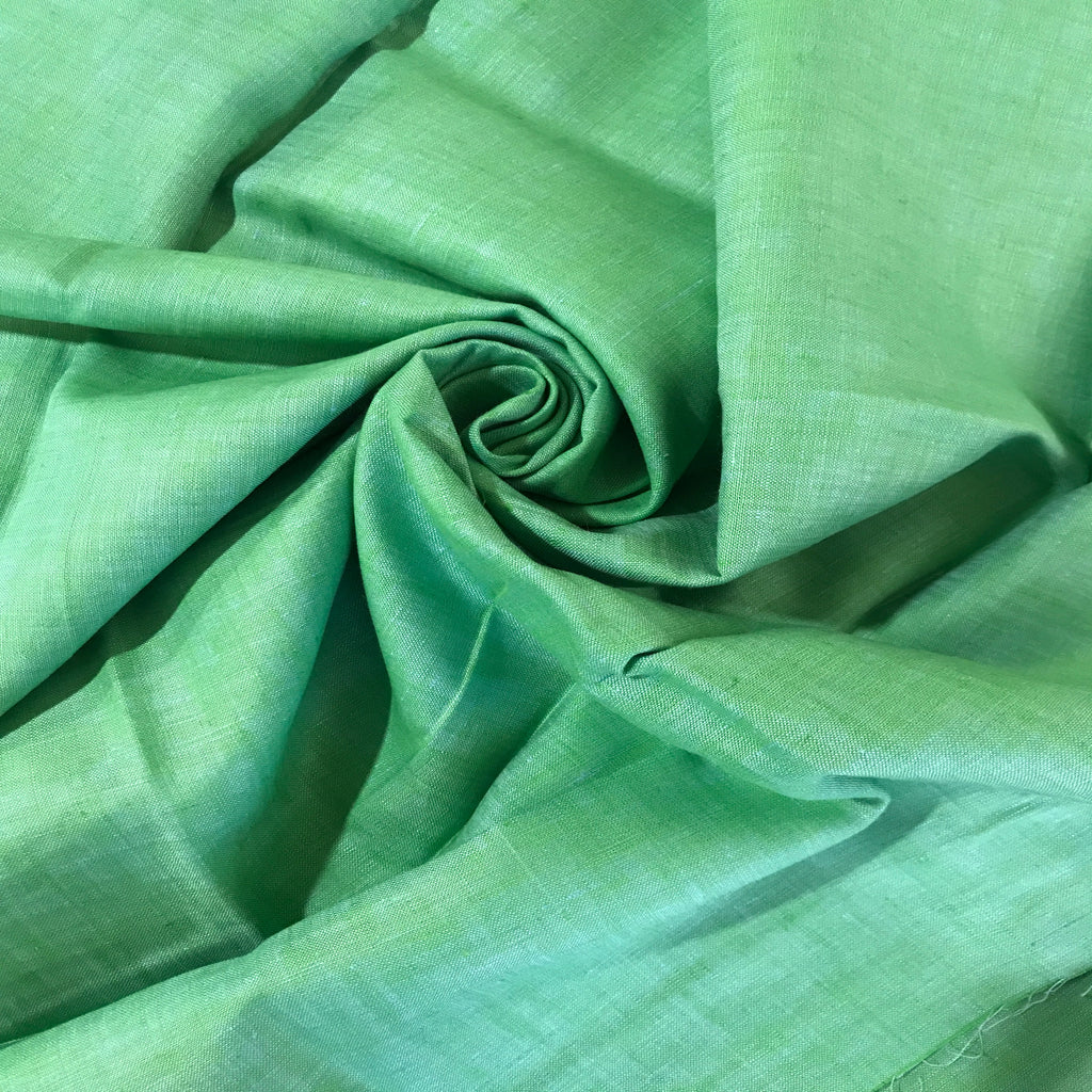 Apple Green 100% Pure Linen Unstitched Shirt Fabric for Men, Women, kids
