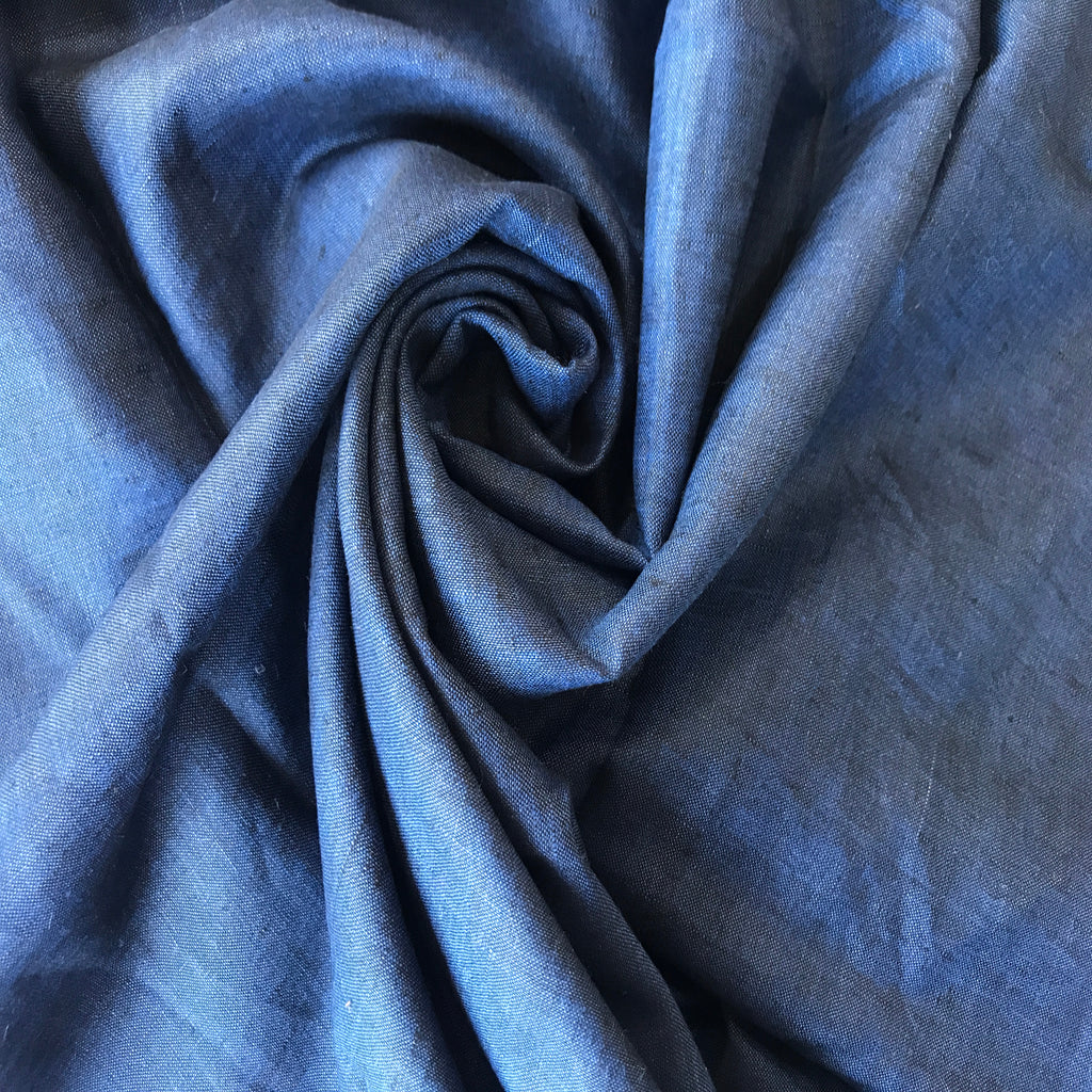 Blue 100% Pure Linen Unstitched Shirt Fabric for Men, Women, kids