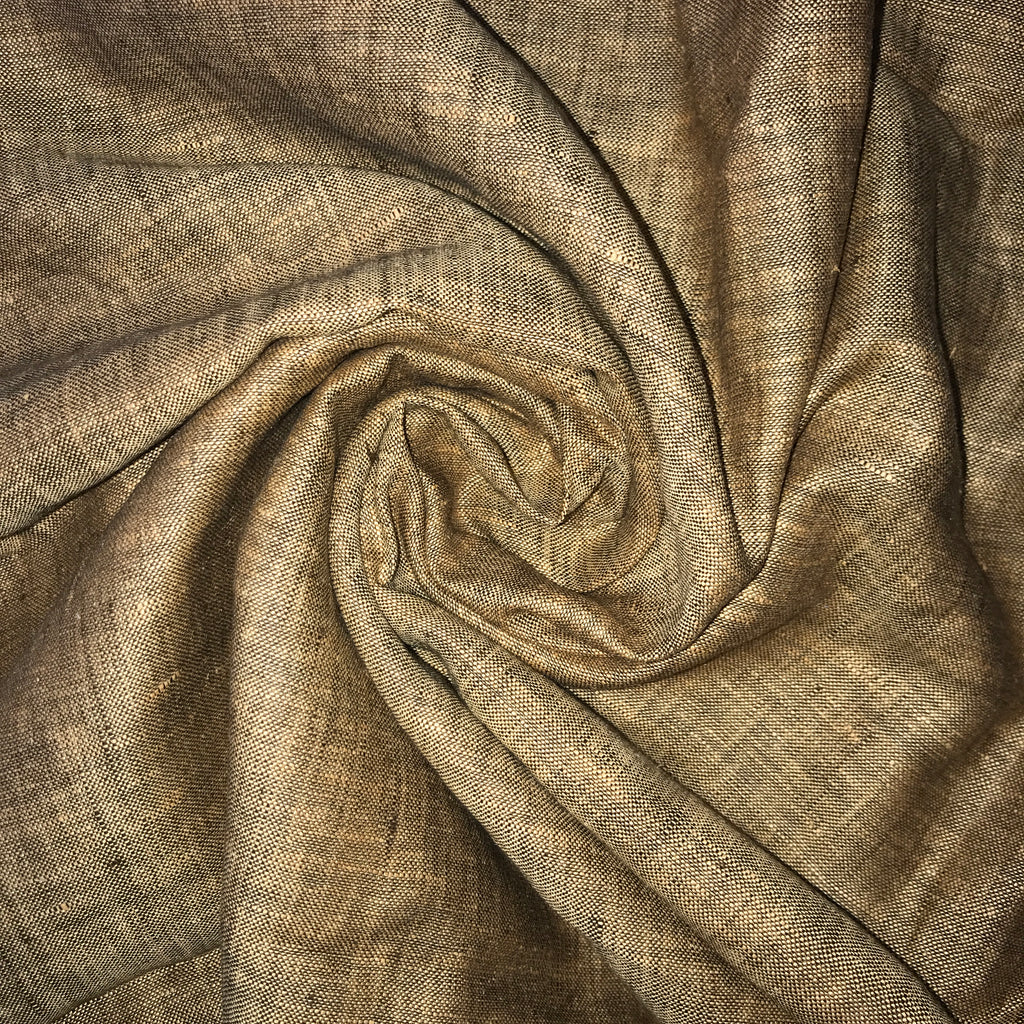 Sandy brown 100% Pure Linen Unstitched Shirt Fabric for Men, Women, kids