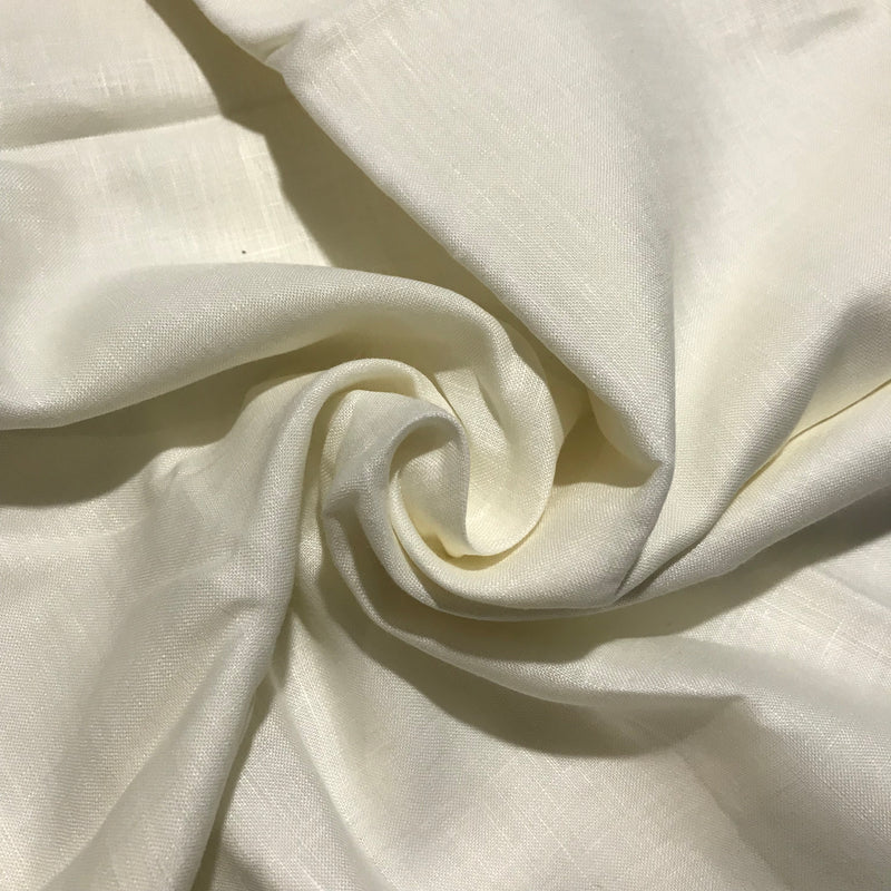 Cream 100% Pure Linen Unstitched Shirt Fabric for Men, Women, kids