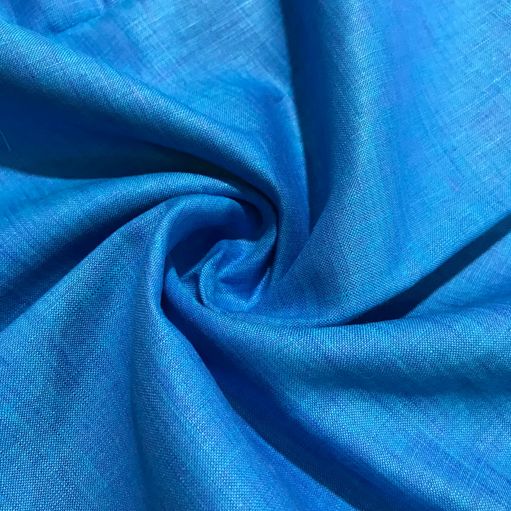 Deep Sky Blue 100% Pure Linen Unstitched Shirt Fabric for Men, Women, kids