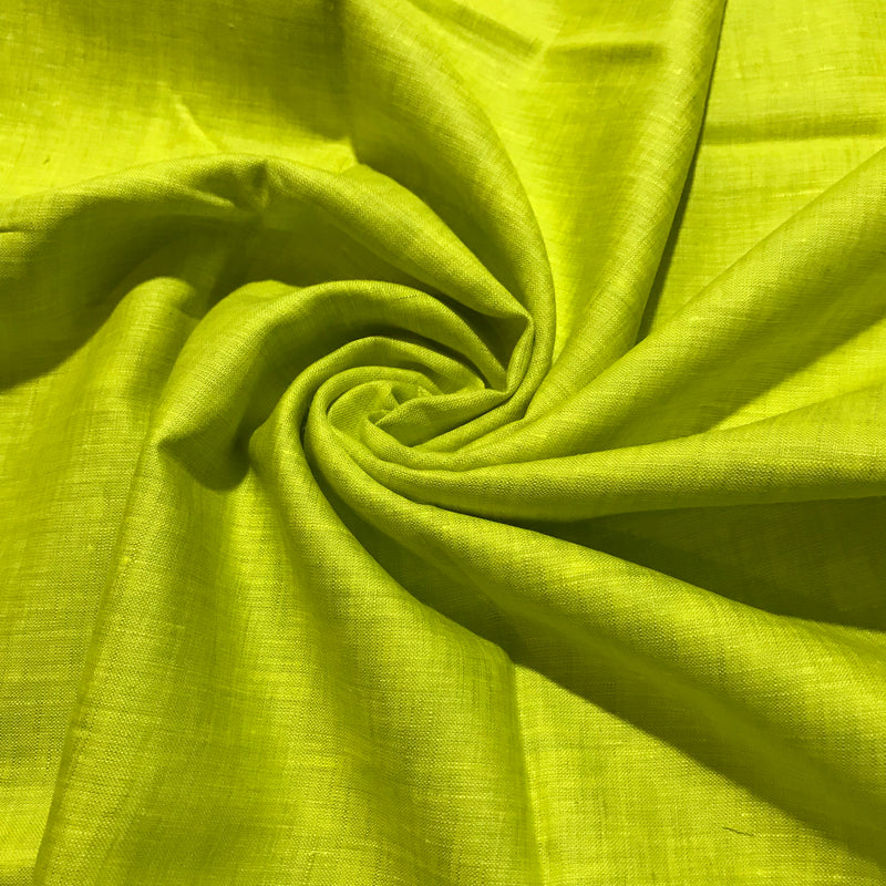 Lime Green 100% Pure Linen Unstitched Shirt Fabric for Men, Women, kids