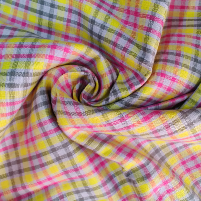 Violet Yellow 100% Pure Linen Unstitched Shirt Fabric for Men, Women, kids