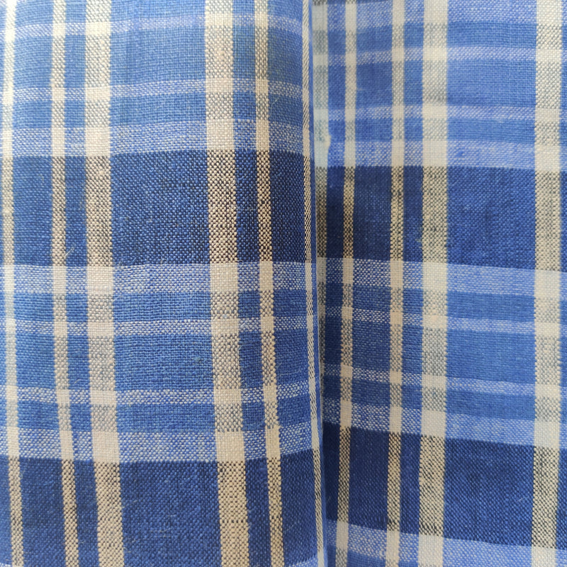 White,Blue checks 100% Pure Linen Unstitched Shirt Fabric for Men, Women, kids