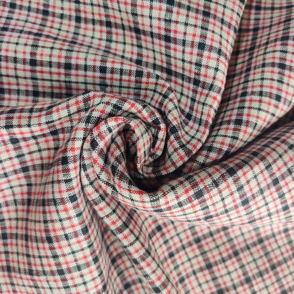 Red, White,Black Checks 100% Pure Linen Unstitched Shirt Fabric for Men, Women, kids