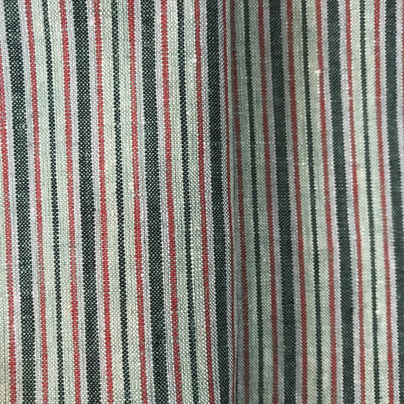 Red Black Stripe 100% Pure Linen Unstitched Shirt Fabric for Men, Women, kids