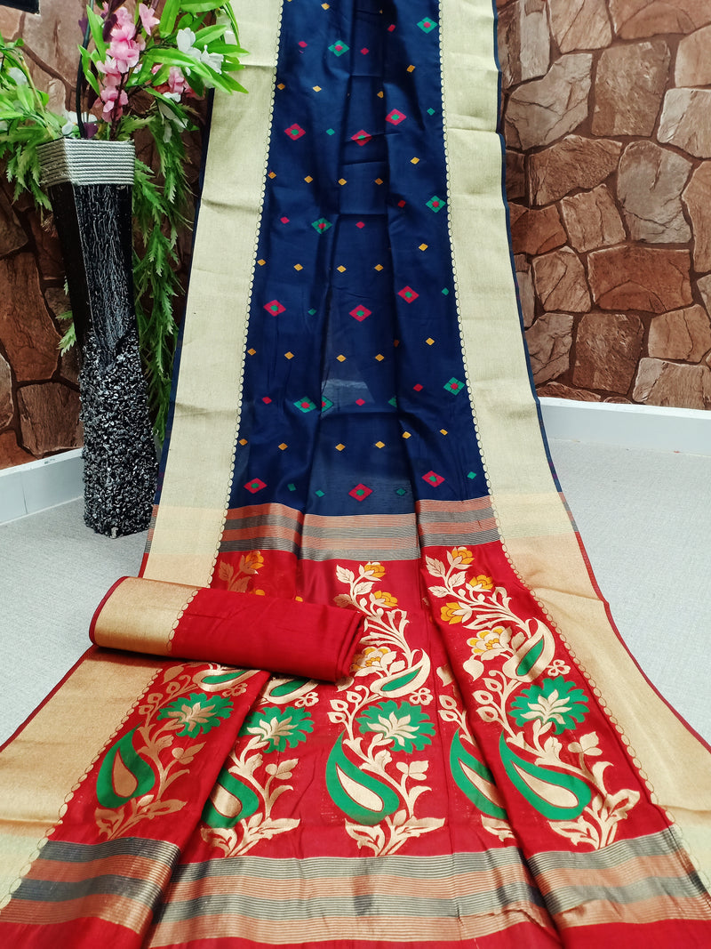 Dark Blue Jacquard Silk Traditional Banarasi Saree with Golden Colour Border and Flame Red Flower Pallu