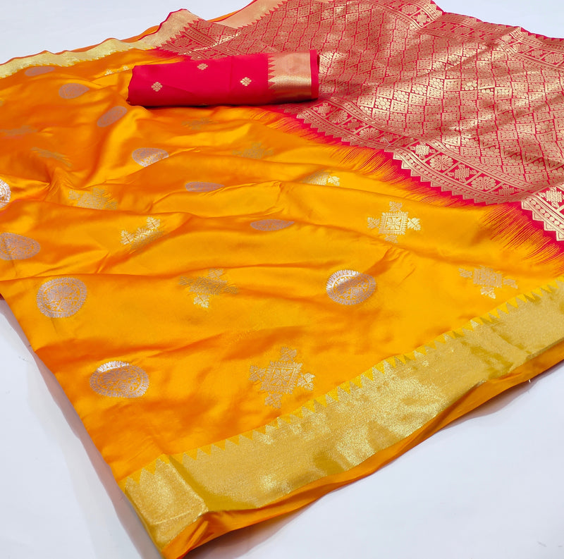 Amber Yellow Jacquard Silk Traditional Banarasi Saree with Golden Woven Border and Yellow Red Pallu
