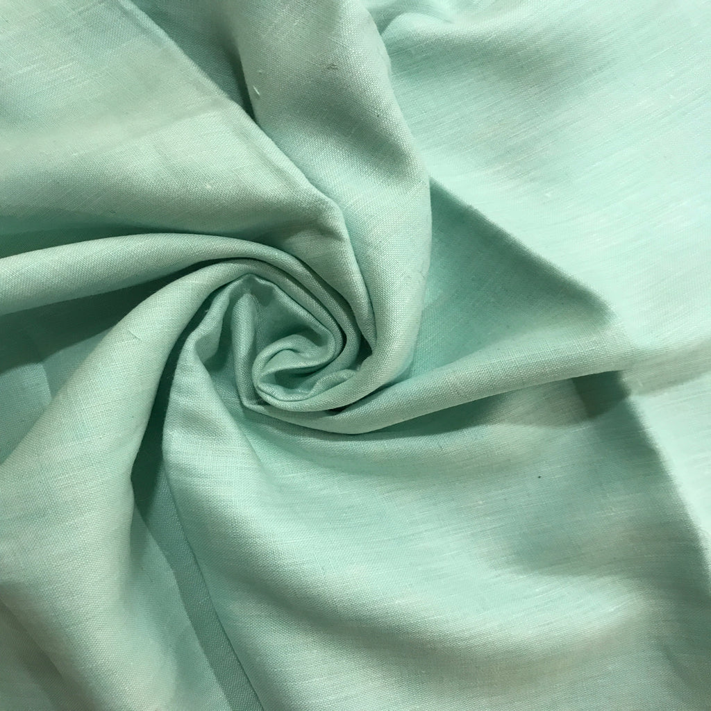 Aquamarine Blue 100% Pure Linen Unstitched Shirt Fabric for Men, Women, kids