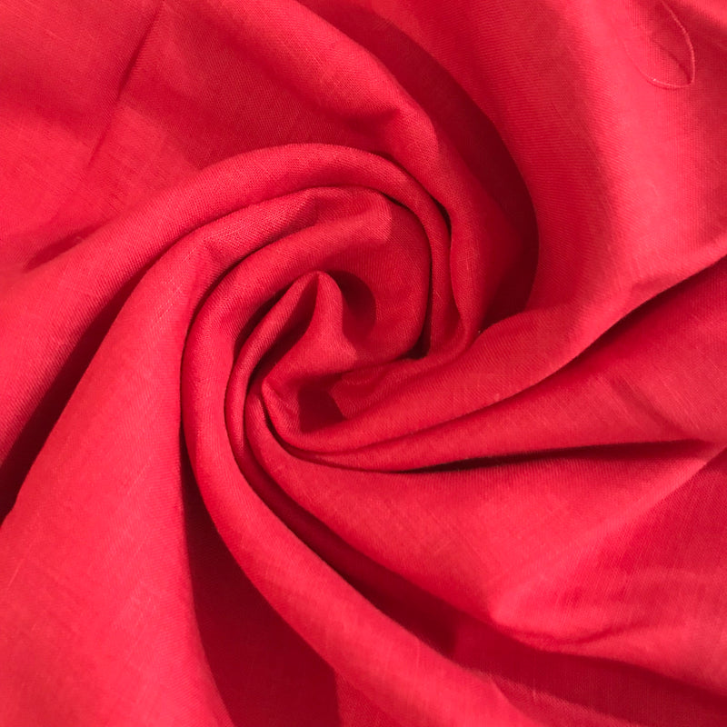 Red 100% Pure Linen Unstitched Shirt Fabric for Men, Women, kids