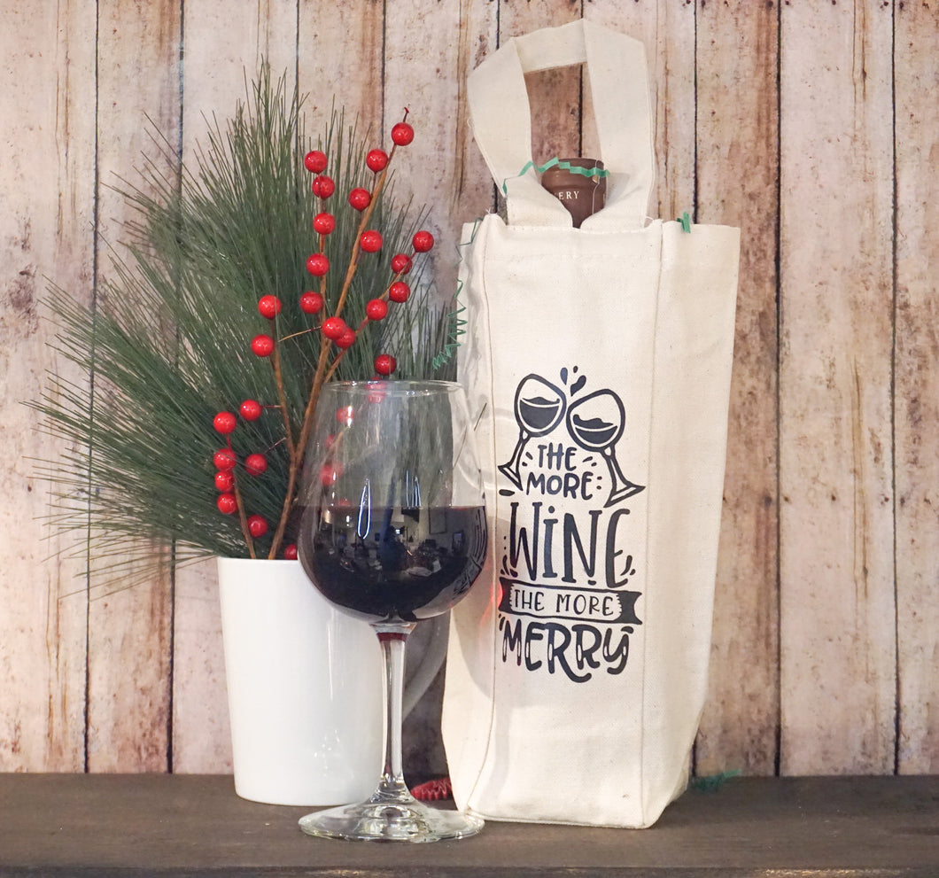 More Wine More Merry Wine Bag
