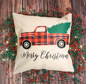 Christmas Tree and Truck Pillow