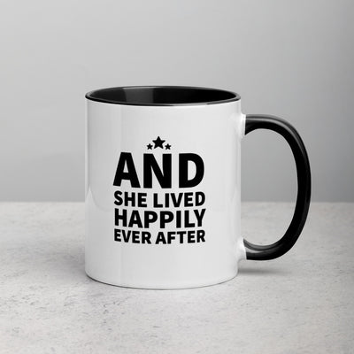 And She Lived Happily Ever After Mug with Color Inside - Darilambu