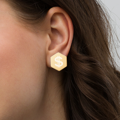 Dollar Sign Sterling Silver Hexagon Stud Earrings - Darilambu