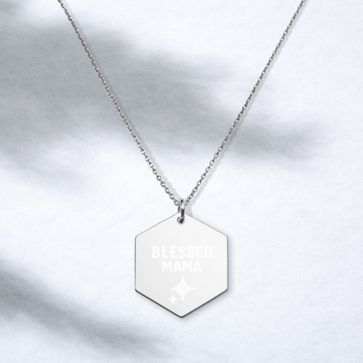 Blessed Mama Engraved Silver Hexagon Necklace - Darilambu
