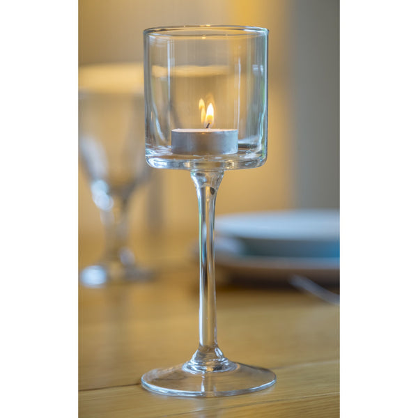 Glass Tealight holders 20cm Long stem Tea Light Holder