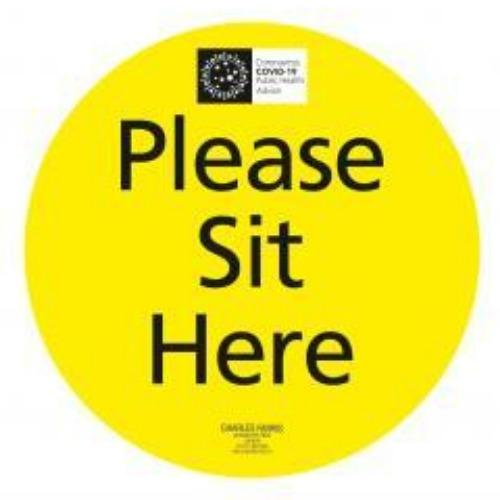 250MM Dia SIT HERE Signs - Pack 5