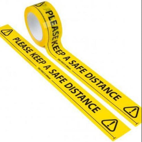 Safe Distance Floor Tape - 1 Roll x 66 Metres