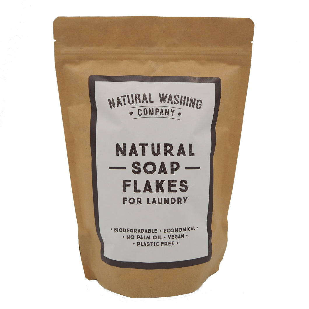 Natural Soap Flakes (500g) in a compostable bag