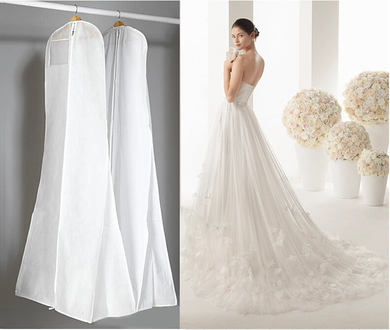 Length 170CM Cheap Wedding Dress Bags Clothes Cover Dust Cover Garment Bags Bridal Gown Bag For Mermaid Wedding Dress Cover