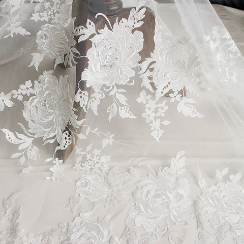Hot selling!High quality african French lace tulle guipure lace fabric latest nigerian tulle lace for Wedding dress