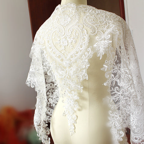 60cm White Sequin Embroidered Bridal Dress Wedding Decorative Sewing Lace Applique Trim Fabric Craft