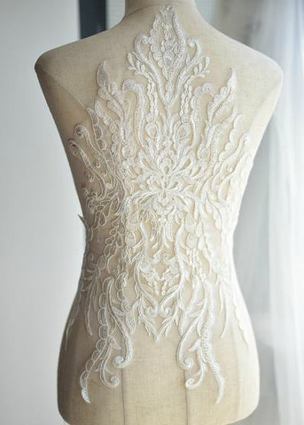 Embroidered Lace Applique Off White