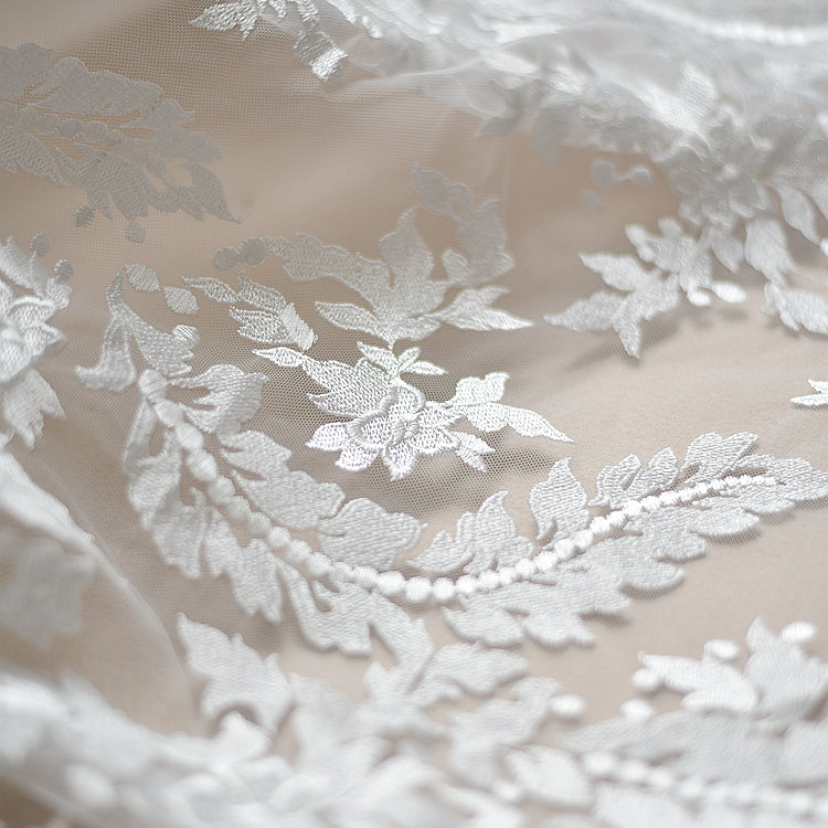 High-end Wedding Dress Lace Fabric Mesh Flower Embroidered Lace Fabric