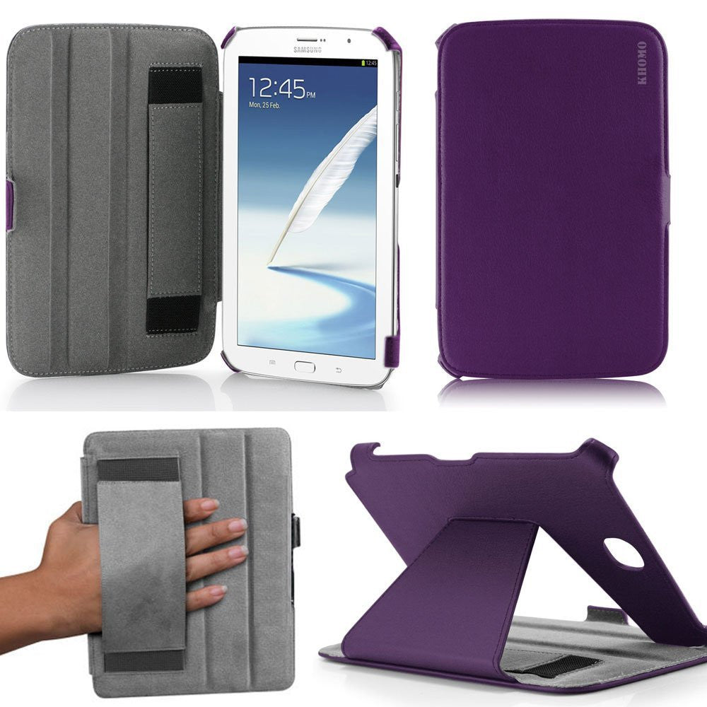 KHOMO ® Purple Hot Press Leather Cover Case with Hand Strap for Samsung Galaxy Note 8.0