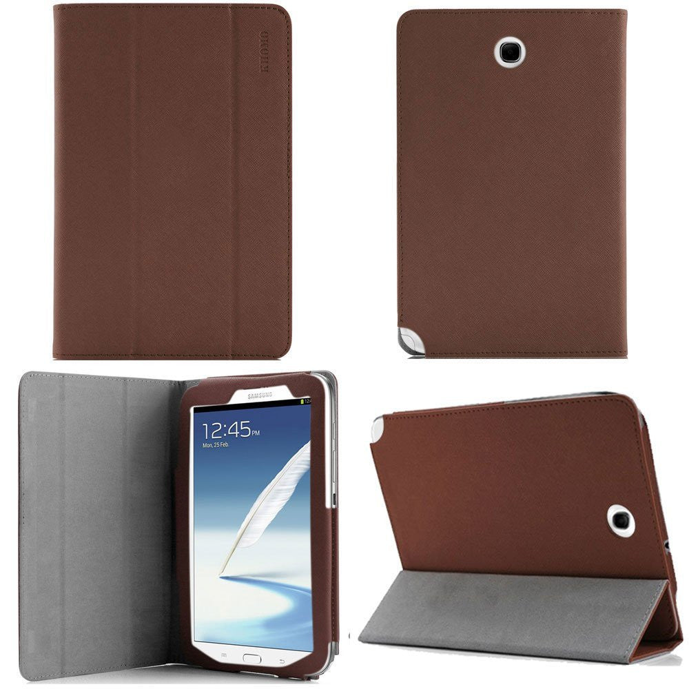 KHOMO ® Brown 3 Fold Leather Cover Case Folio with stand for Samsung Galaxy Note 8.0