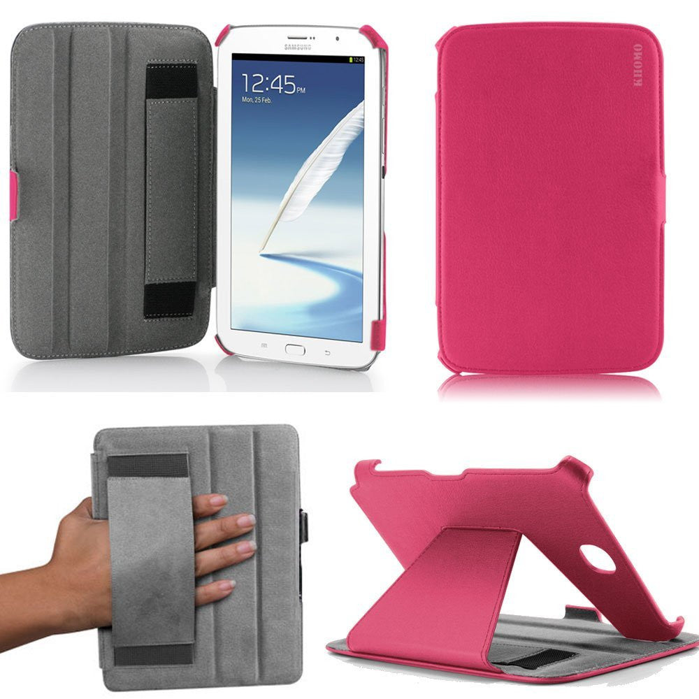 KHOMO ® Hot Pink Hot Press Leather Cover Case with Hand Strap for Samsung Galaxy Note 8.0