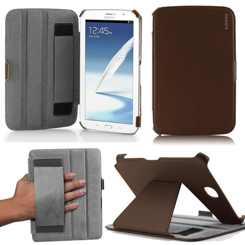 KHOMO ® Brown Hot Press Leather Cover Case with Hand Strap for Samsung Galaxy Note 8.0