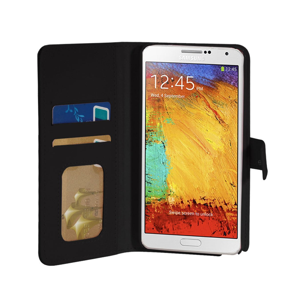Executive Leather Wallet Case For Samsung Galaxy Note 3 - Black