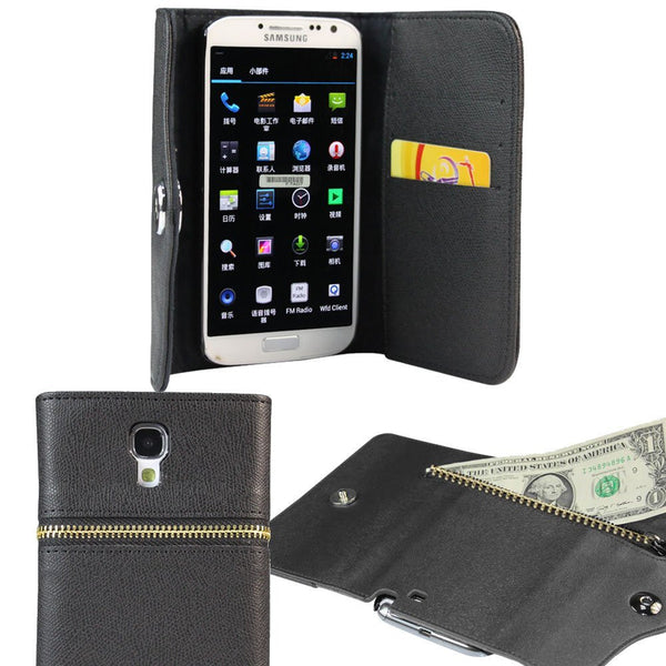 Zipper Wallet Case For Samsung Galaxy S4 - Black