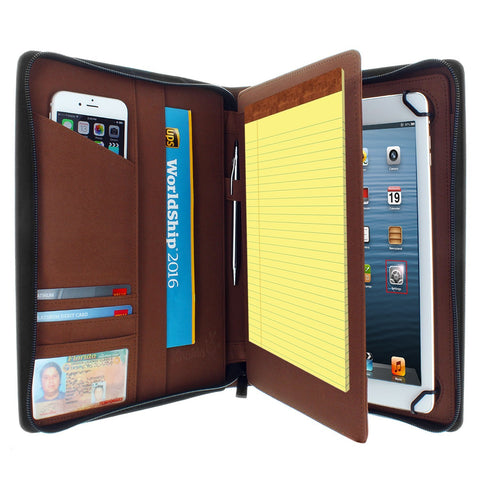 Apple iPad 9.7 PadFolio Case Brown Executive Notepad Holder 8.5