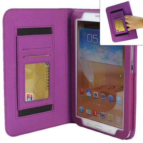 KHOMO ® Leather Folio Case with Hand Strap, Wallet and Card Slots for Samsung Galaxy Note 8.0 (Galaxy Note 8.0, Purple)