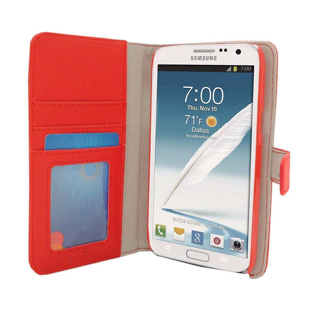 Executive Leather Wallet Case For Samsung Galaxy Note 3 - Red