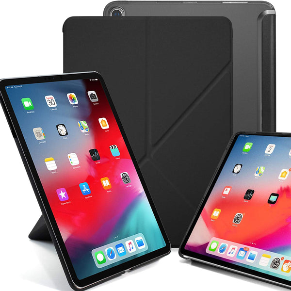 Origami Dual Case Cover For Apple iPad Pro 12.9 Inch 3rd Generation See Through Horizontal & Vertical Display - Black