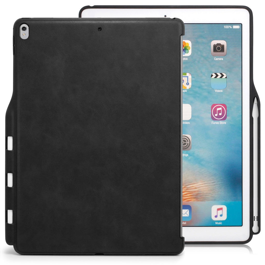 Case Cover Companion With Pen Holder For Apple iPad Pro 12.9 - Leather Black