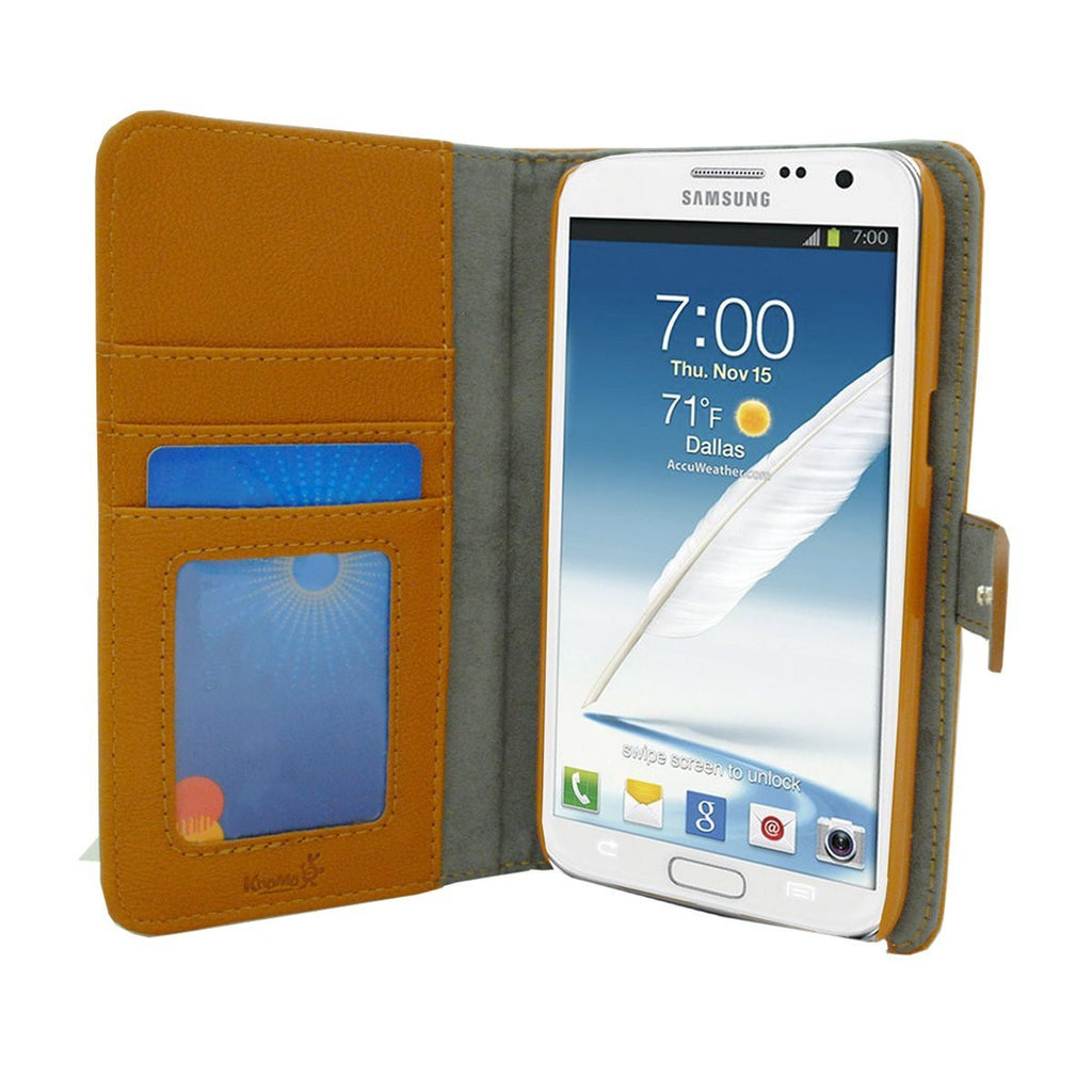 Executive Leather Wallet Case For Samsung Galaxy Note 3 - Brown